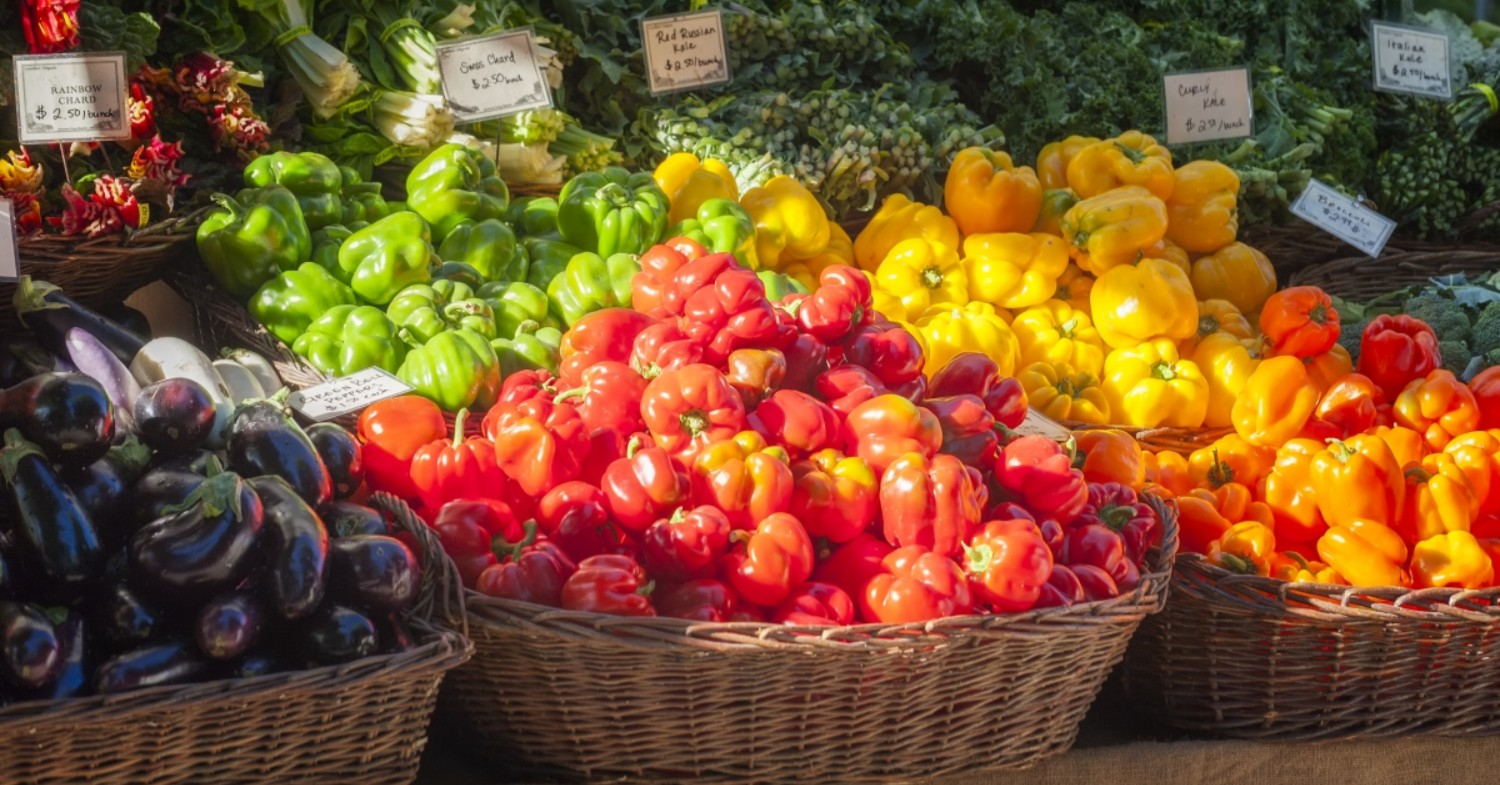 colorful produce in baskets